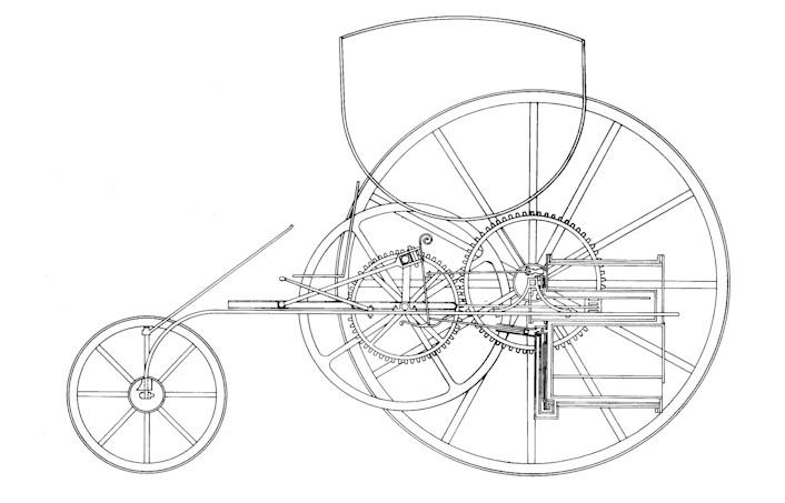 """Richard Trevithicks patentritning från 1802 till hans andra ångbilskonstruktion - den som kallas """"The London Steam Carriage"""". Ritningen har Tom Brogden använt vid tillverkningen av repliken som i april nästa år blir huvudnumret vid tvåhundraårsjubileet av Trevithicks jungfruresa med världens första ångbil. Arrangemanget hålls i Trevithicks hemby, Camborne i Cornwall."""
